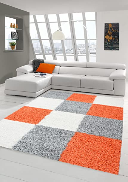 Shaggy Carpet Long Pile Living Room Patterned In Karo Design Orange Grey Cream Size 120x170 Cm Amazoncouk Kitchen Home