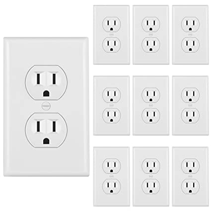 [10 pack] bestten 15a duplex receptacle, electrical wall outlet, 3 prong  self