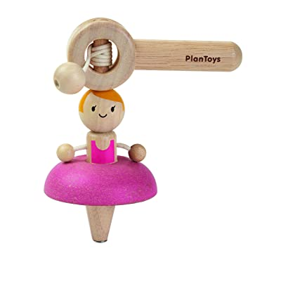 PlanToys Wooden Ballerina Ballet Spinning Top (5194) | Sustainably Made from Rubberwood and Non-Toxic Paints and Dyes: Toys & Games