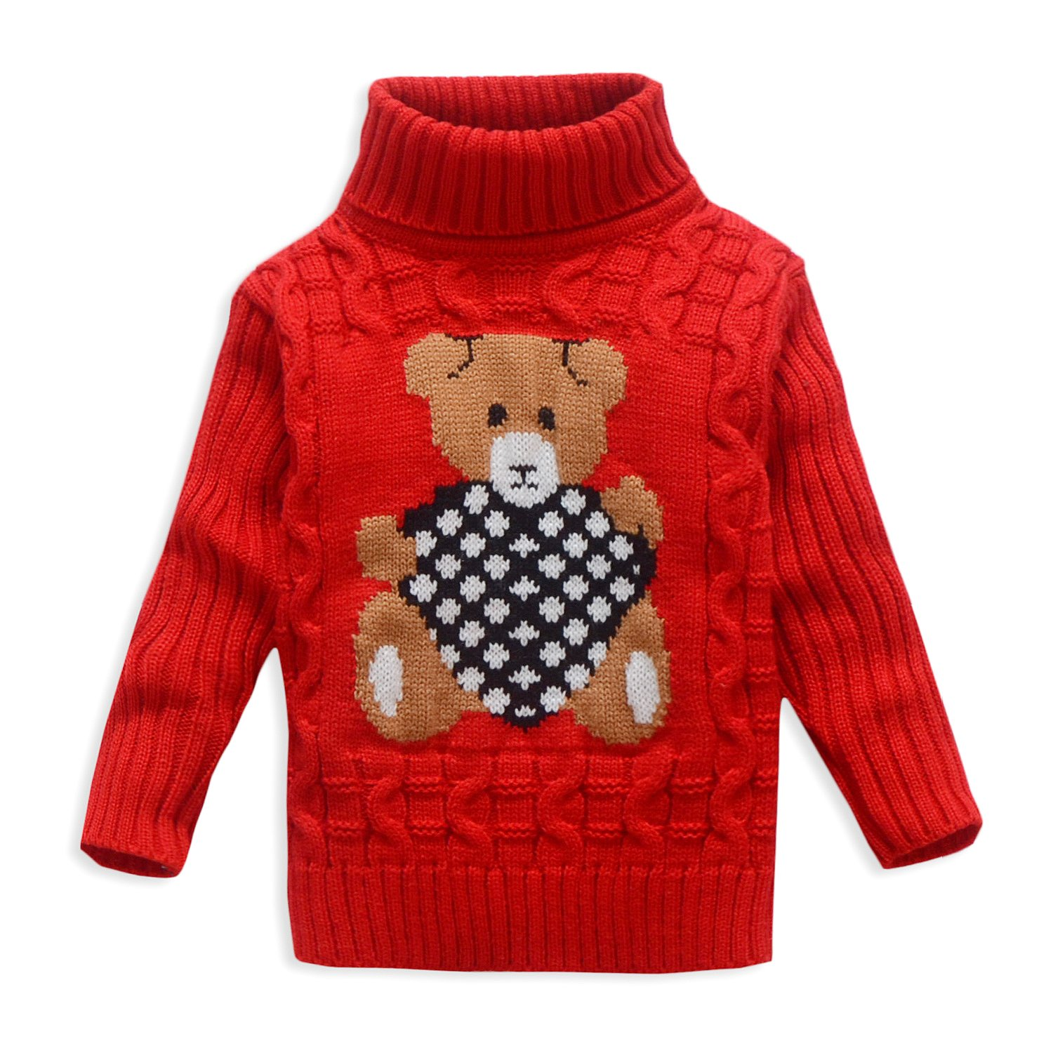 OUYAJI Boys and Girls Bear Pattern Warm Turtleneck sweater