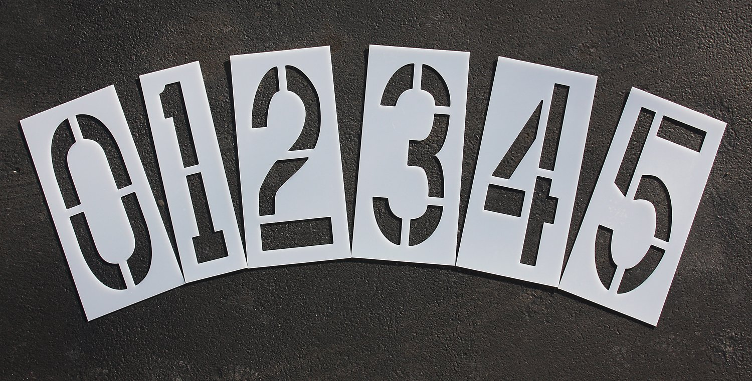 Parking Lot Pavement Stencils - 18 in - NUMBER KIT STENCIL SET - 1/16'' Light-Duty - (12 Piece - (1) Number 0-9, and (2) blanks)