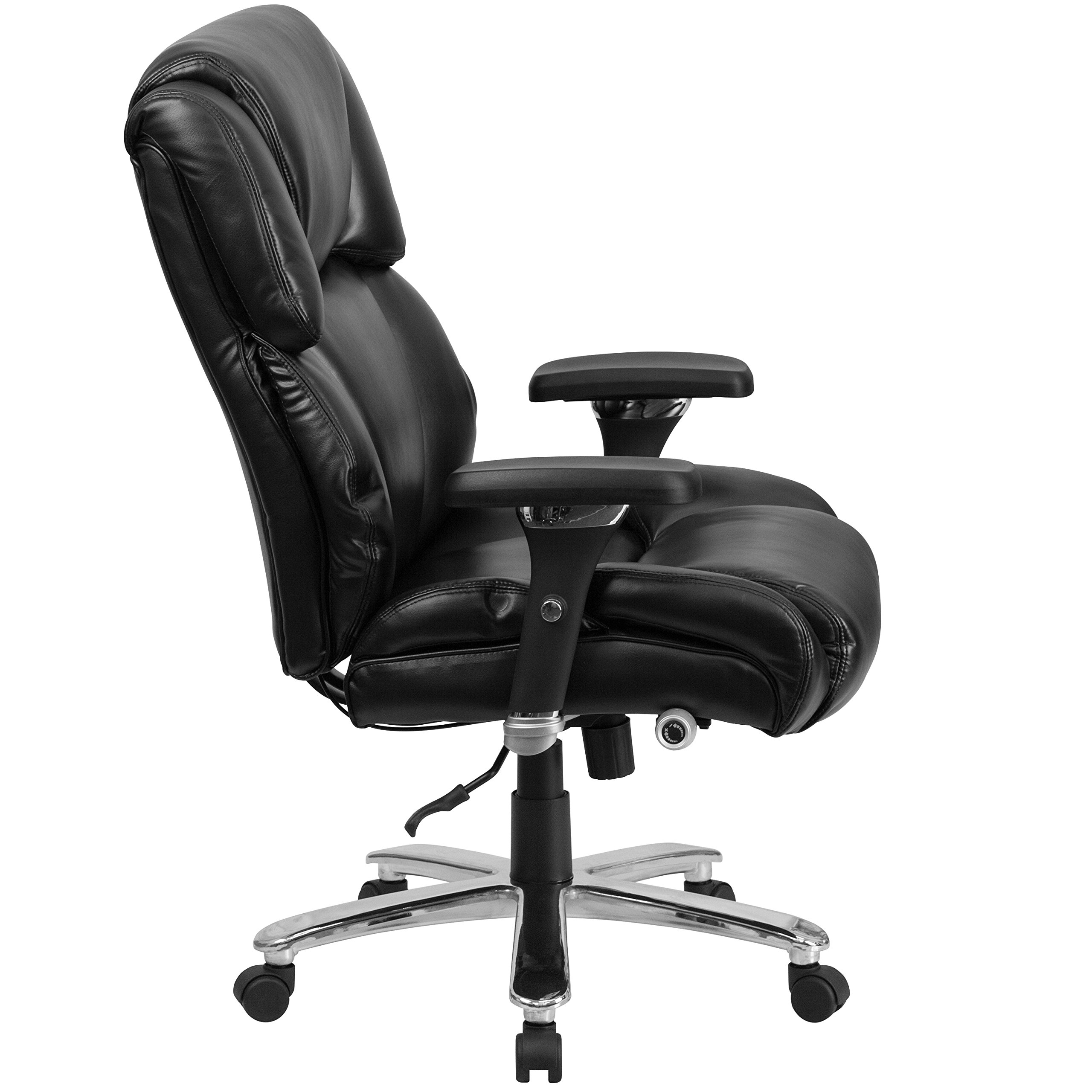 Flash Furniture HERCULES Series 24/7 Intensive Use Big & Tall 400 lb. Rated Black Leather Executive Swivel Chair with Lumbar Knob by Flash Furniture (Image #2)
