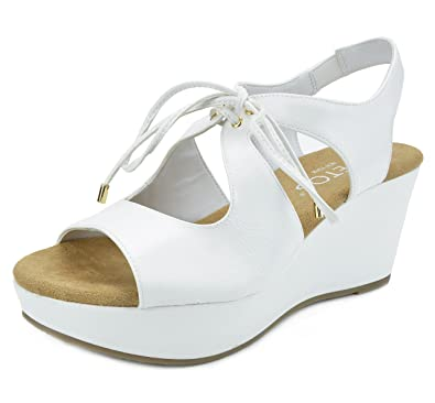 02bf26c9e433 TOETOS SANDRO-02 New Women s Casual Open Toes Mid Heels Lace Up Platform  Wedges Summer