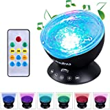 Amazon Price History for:Ohuhu Remote Control Night Light Ocean Wave Light Projector 7 Colors with Bulit-in Speaker, Black
