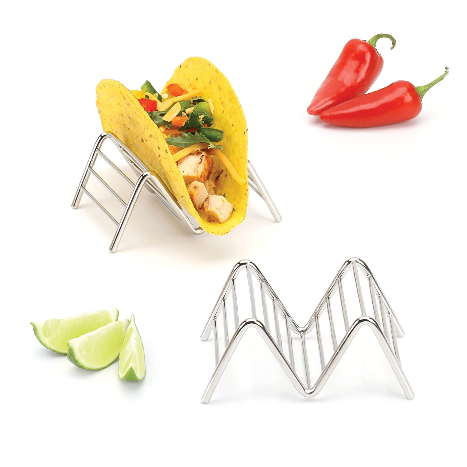 Taco Shell Holder, Stainless Steel Taco Rack Hard Soft Taco's, 2 Pack, 5 Styles Available 2 Lb. Depot (Holds 1 or 2 Tacos)
