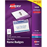 """Avery Top-Loading Garment-Friendly Clip Style Name Badges, 3"""" x 4"""", Box of 50 (74536)"""