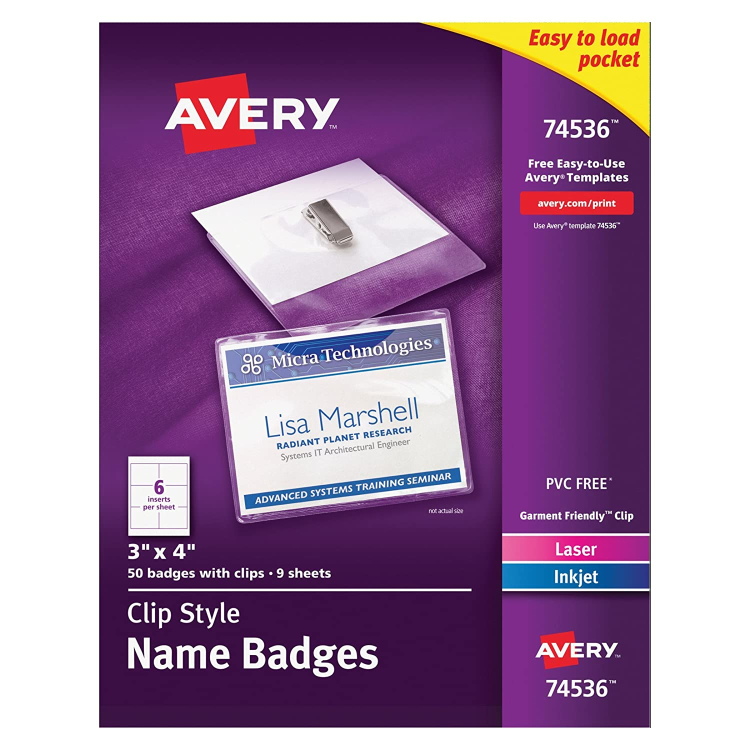 Amazon avery clip name badges print or write 3 x 4 50 amazon avery clip name badges print or write 3 x 4 50 inserts badge holders with clips 74536 badge holders office products wajeb Gallery