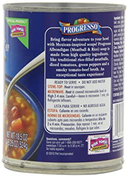 Amazon.com : Progresso Traditional Soup, Albondigas Meatball and Rice, 18.5-Ounce Cans (Pack of 12) : Packaged Vegetable Soups : Grocery & Gourmet Food