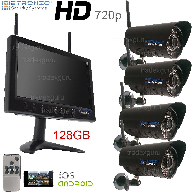 HD 720 P circuito cerrado de televisión inalámbrico exterior resistentes al agua Kit de sistema de seguridad 22,86 cm Monitor, 4 x cámaras y 128 GB tarjeta Sd,