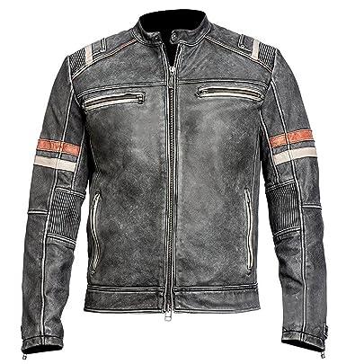 Leatherly Cafe Racer moto Retro Vintage Biker estilo cuero negro chaqueta moto con rayas rojas en las mangas: Amazon.es: Ropa y accesorios