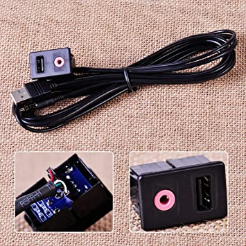 USB 3.5mm AUX Male Mounting Car Dashboard Panel Audio Flush Mount  Adapter Cable