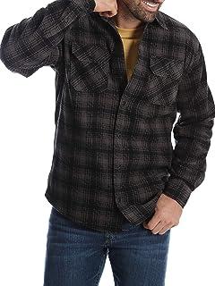 5e3d961fa0e Wrangler Mens Long Sleeve Fleece Flannel Shirt (Small 34 36