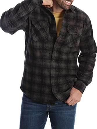 91af3843249 Image Unavailable. Image not available for. Color  Wrangler Mens Long  Sleeve Fleece Flannel Shirt ...