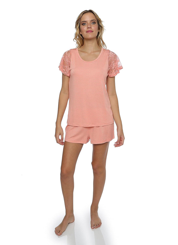 Peachlace kathy ireland Women's 2 Piece Shirt and Shorts Sleep Set with Lace Detailing
