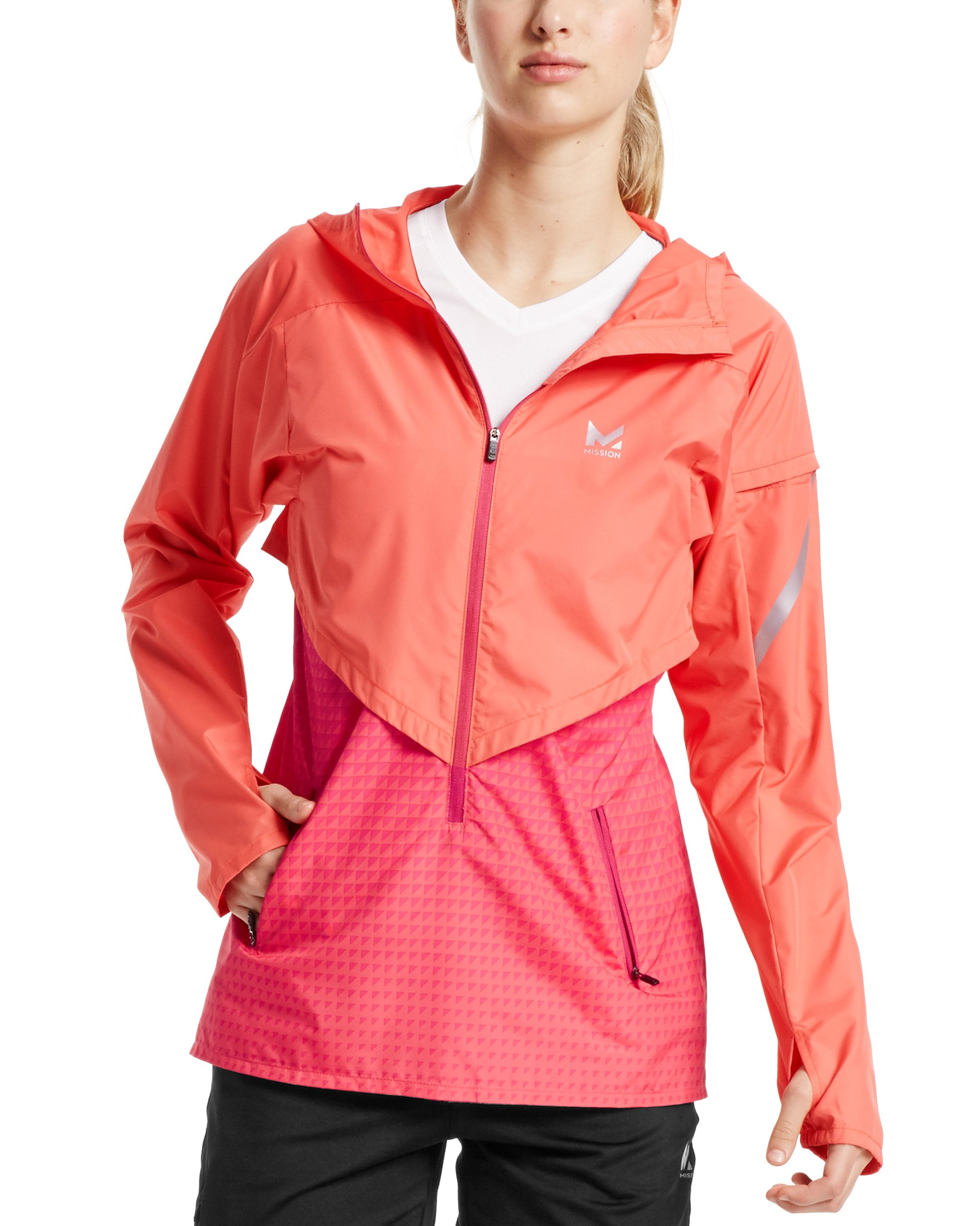 Mission Women's VaporActive Barometer Running Jacket, Emberglow/Beetroot Purple Ombre, Small by Mission