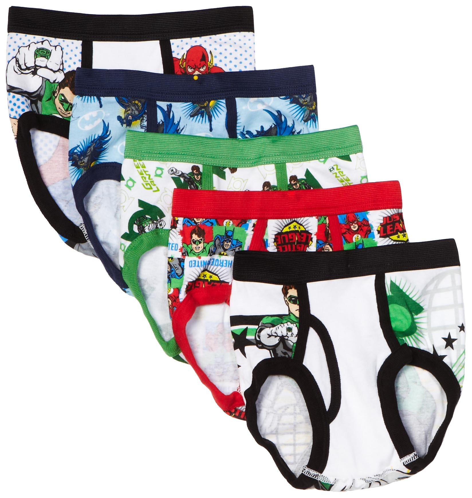 Handcraft Little Boys' Justice League Brief (Pack of 5), Multi, 8