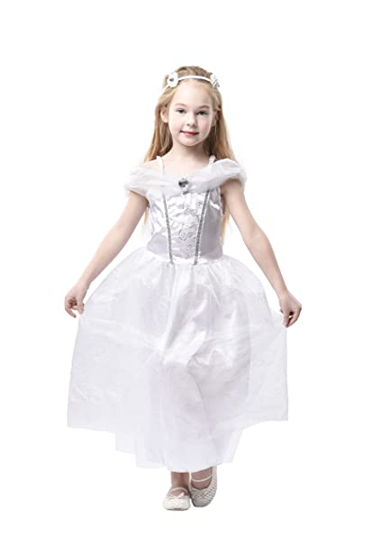 Blue Panda Wedding Dress , Kids Bride Costume, Bridal Gown for Girls  Dress,up, White
