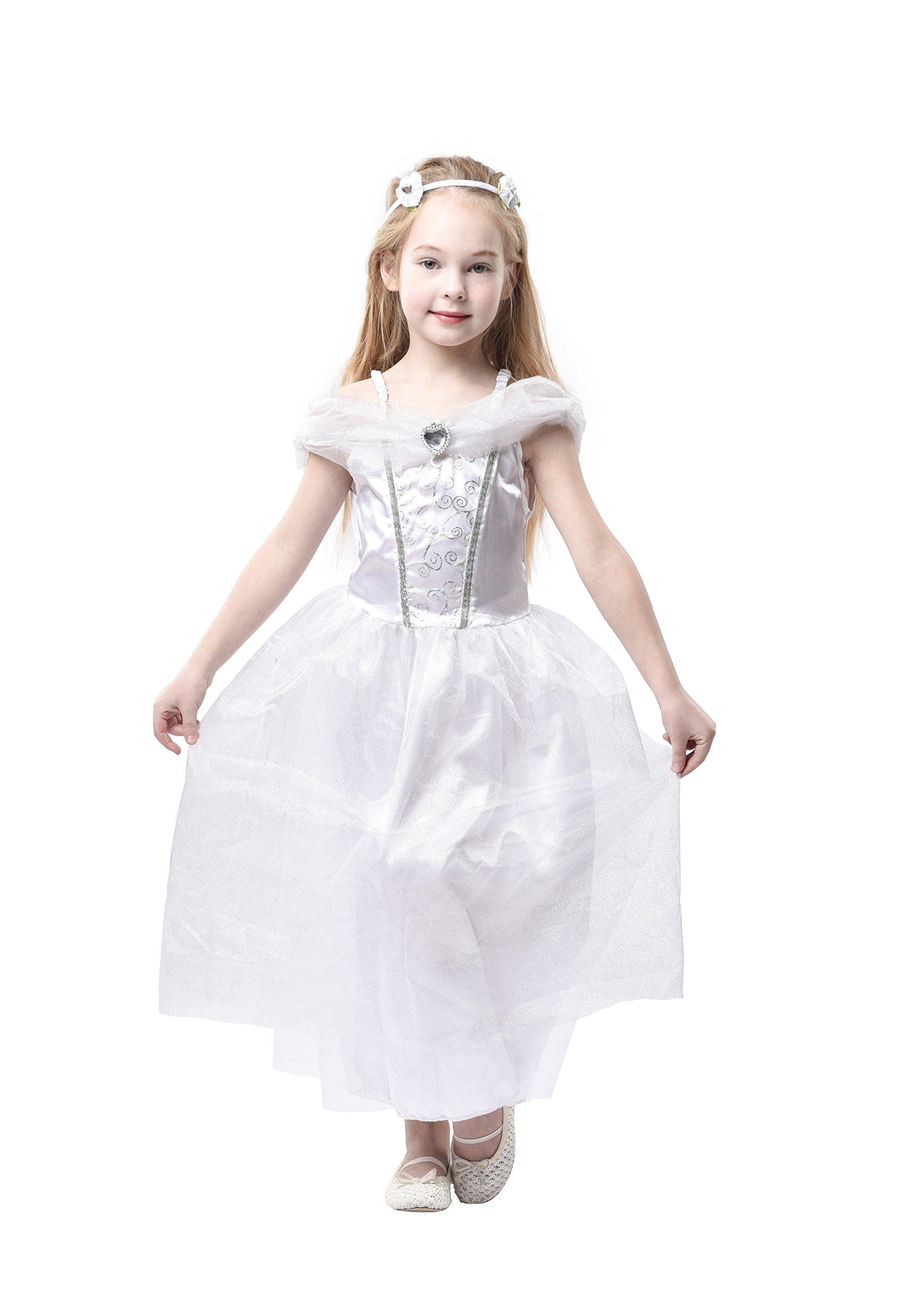 Blue Panda Wedding Dress - Kids Bride Costume, Bridal Gown Girls Dress-up, White, M