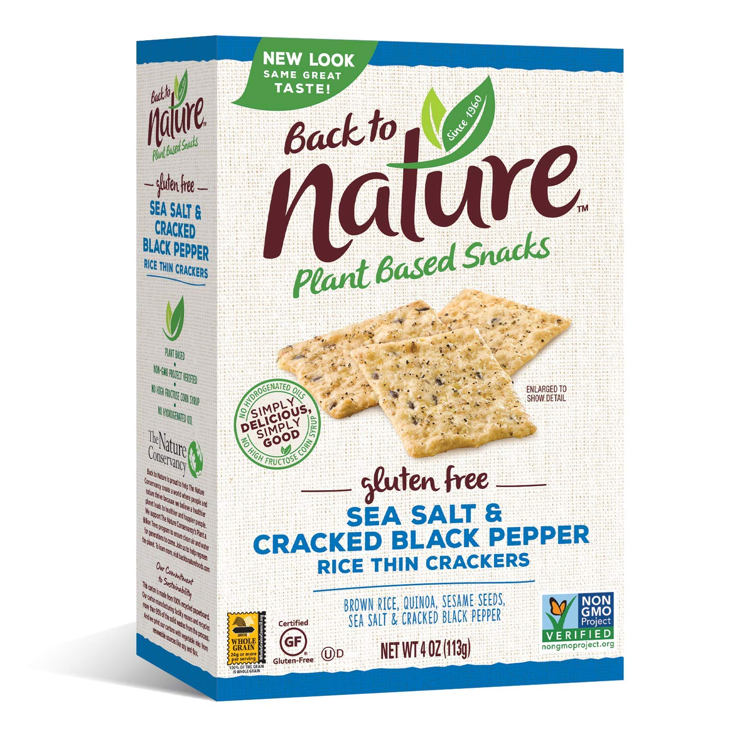 Back to Nature Gluten Free Crackers, Non-GMO Sea Salt & Cracked Black Pepper Rice Thins, 4 Ounce (Packaging May Vary)