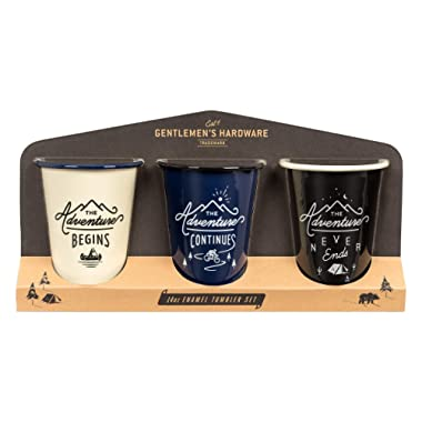 Gentlemen's Hardware Enamel Coffee Tumblers/Mugs, Set of 3, Separate Colors