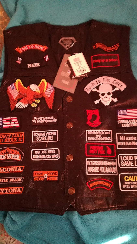 Gilet da uomo, da biker, con toppe motivo USA, in pelle di bufalo, colore: nero in pelle di bufalo Easybiker