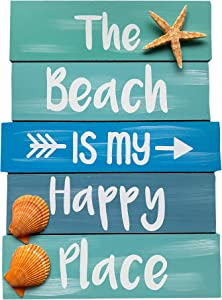 Zazzy Signs The Beach is My Happy Place Sign - Beach House Decor - Wood Sign