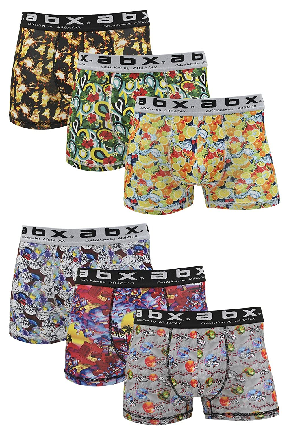 ABX Boxer Briefs Men (6-Pack) Fun Colorful Shorts, Novelty Graphics at Amazon Mens Clothing store: