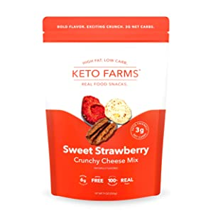 Keto Farms, Crunchy Cheese Mix, Keto Snacks (3g Net Carb) [Sweet Strawberry] 9 Ounce, 1 Count, Bulk Bag | Keto Friendly Low Carb Snacks - Real Food, Bold Flavor, Satisfies Keto Snack Cravings