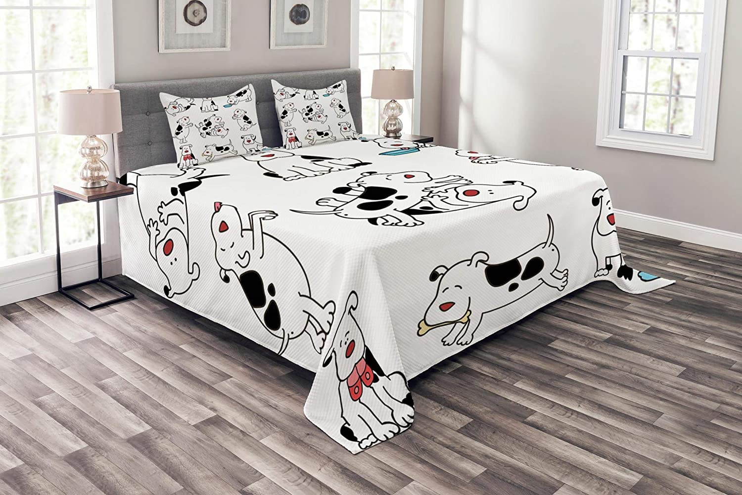 Lunarable Dog Lover Bedspread, Cartoon Dogs Childhood Dachshund Joy Expression Eating Happy Playing Enjoying, Decorative Quilted 3 Piece Coverlet Set with 2 Pillow Shams, Queen Size, Black White