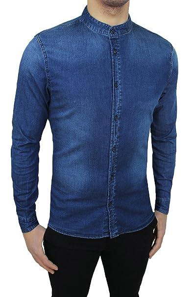 02d3389a98 Camicia di Jeans Uomo Blu Scuro Denim Casual con Colletto alla Coreana