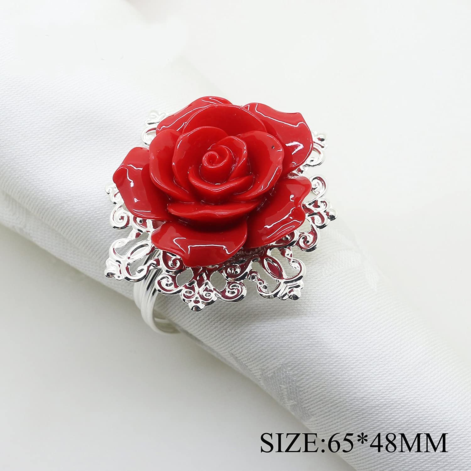 10pcs Red Rose Decorative Silver Napkin Ring Serviette Holder for Wedding Party Dinner Table Decor Many Color Available For Christmas Table Yomoo