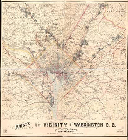 Map Of Us Washington Dc.Amazon Com Vintage 1904 Map Of Baist S Map Of The Vicinity Of