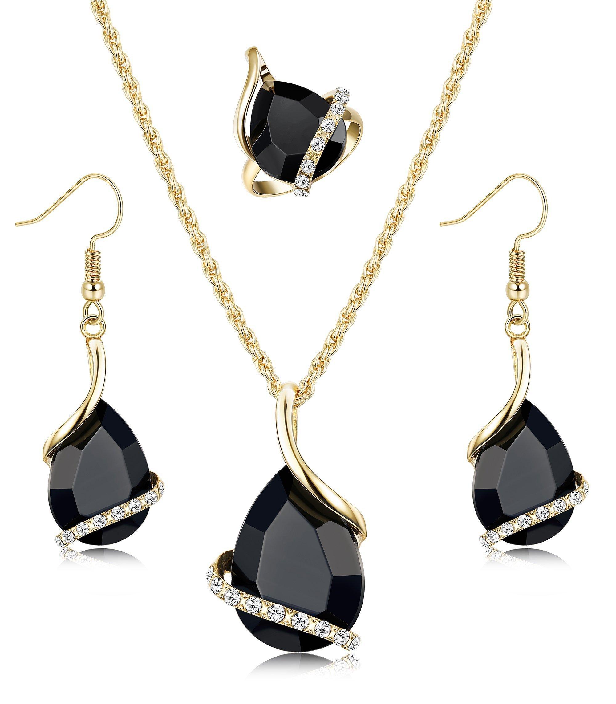 Hanpabum Women Black Jewelry Set Teardrop Pendant Necklace Dangle Drop Earring and CZ Ring Prom Jewelry
