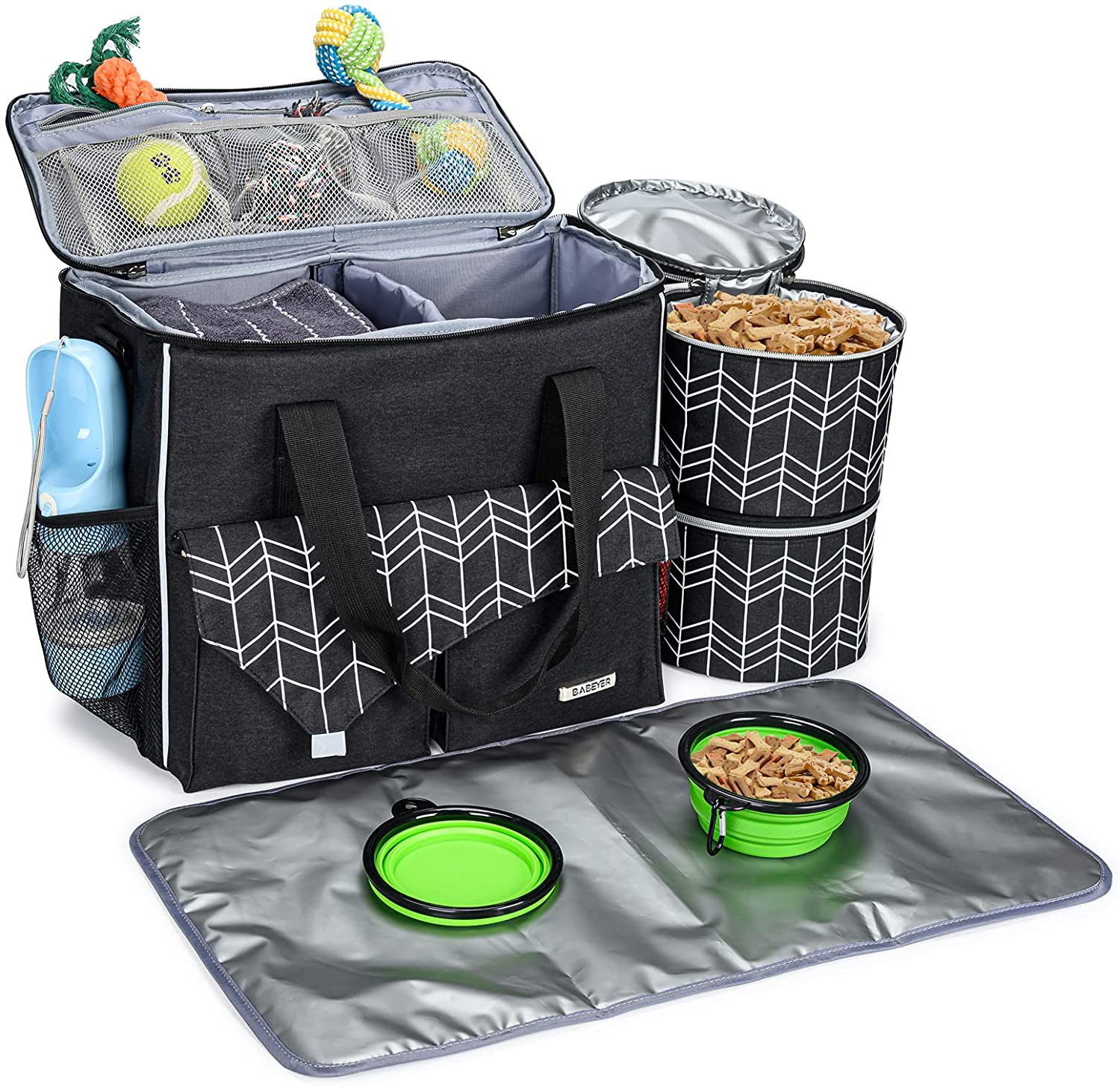 BABEYER Dog Travel Bag with Food Container Bag and Collapsible Bowl Included, Airline Approved Pet Supply Bag Great for Weekend Pets Travel-Black