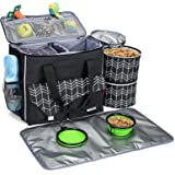 BABEYER Dog Travel Bag with Food Container Bag and Collapsible Bowl Included, Airline Approved Pet Supply Bag Great for Weeke