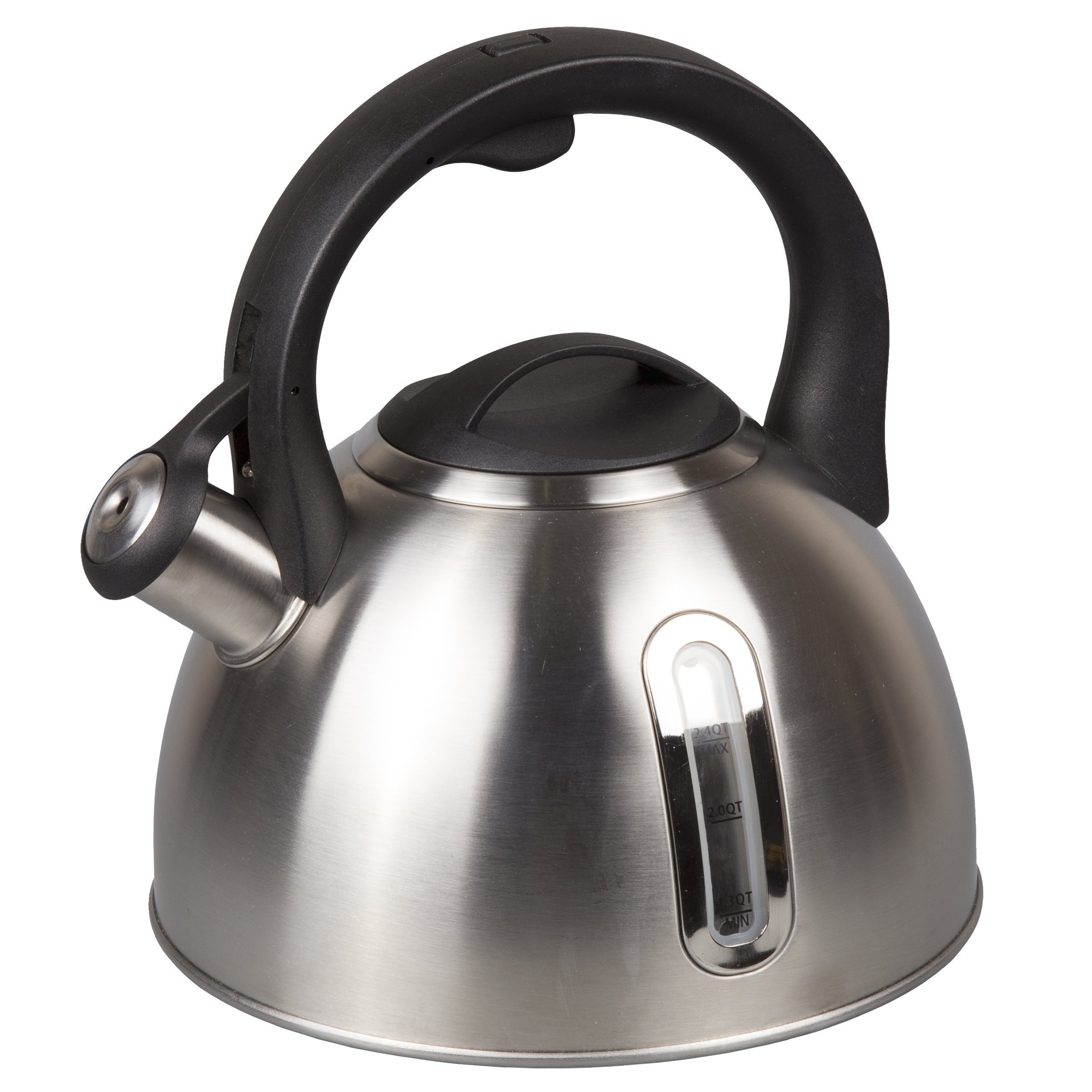Creative Home 72248 Whistling with Capsulated Bottom Clear Window 2.4 Qt. Stainless Steel Tea Kettle, Silver
