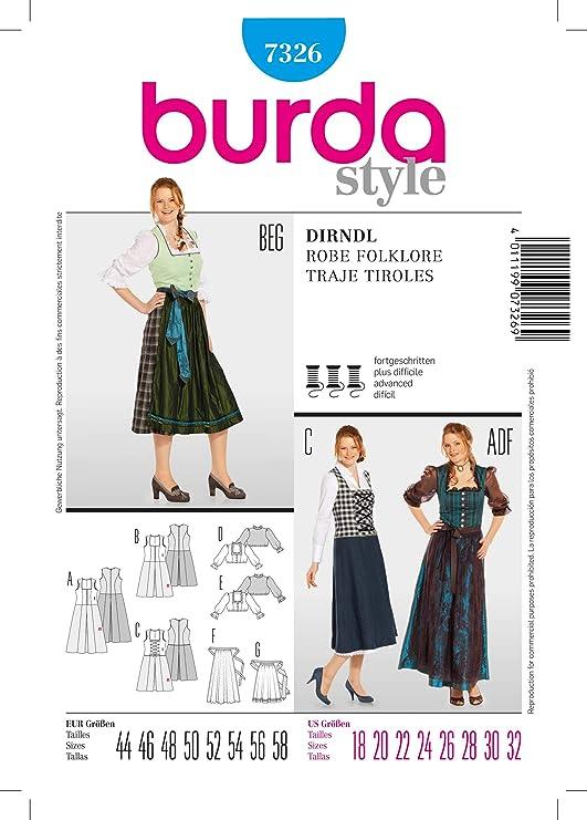Burda Patrón de Costura 7326 Tirolesa, Talla 44 58 - Traje ...