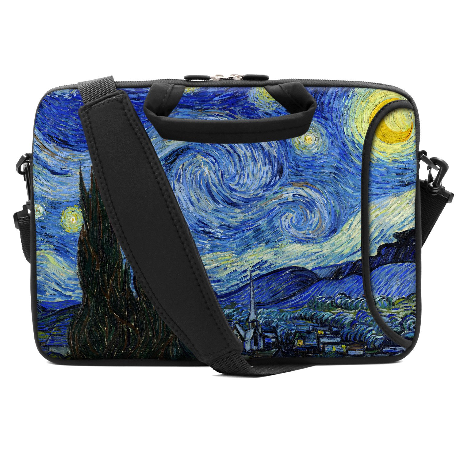 HAOCOO Stylish Artwork Design Ultraportable Waterproof Neoprene Laptop Bag Sleeve with Padded Handle, Adjustable Shoulder Strap & External Side Pocket, Fits 13-13.3 Inch Laptops, Starry Night