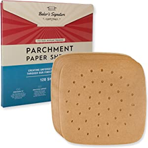 7.5 Inch Airfryer Squares Pack of 120 Parchment Paper Sheets by Baker's Signature | Precut Silicone Coated & Unbleached – Will Not Curl or Burn – Non-Toxic & Comes in Convenient Packaging