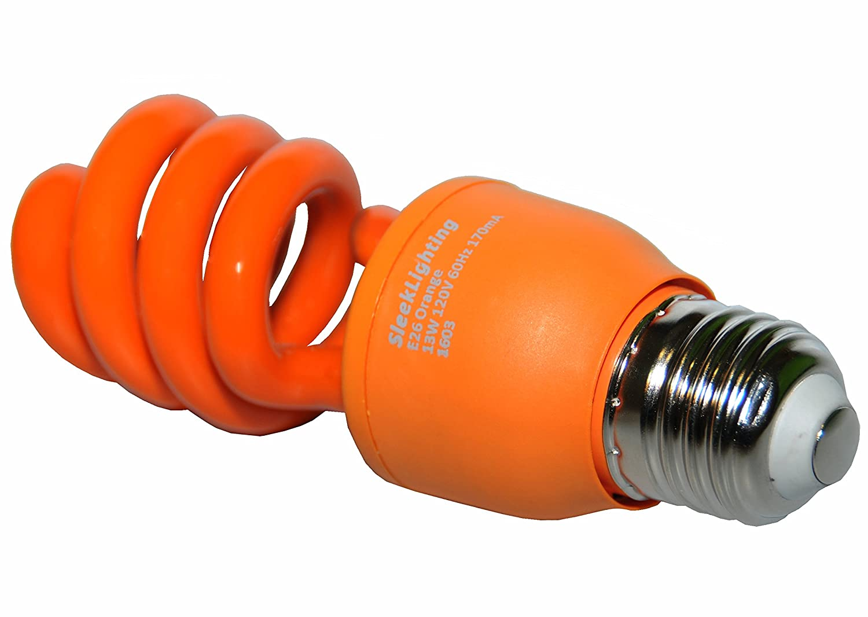18630 E26 Medium Base. SleekLighting 13 Watt Orange Spiral CFL Light Bulb 120Volt Pack of 2