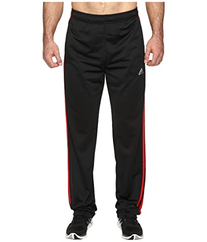 adidas Men's Essentials Track Pants (Extended Sizes), Black/Scarlet, XXX-