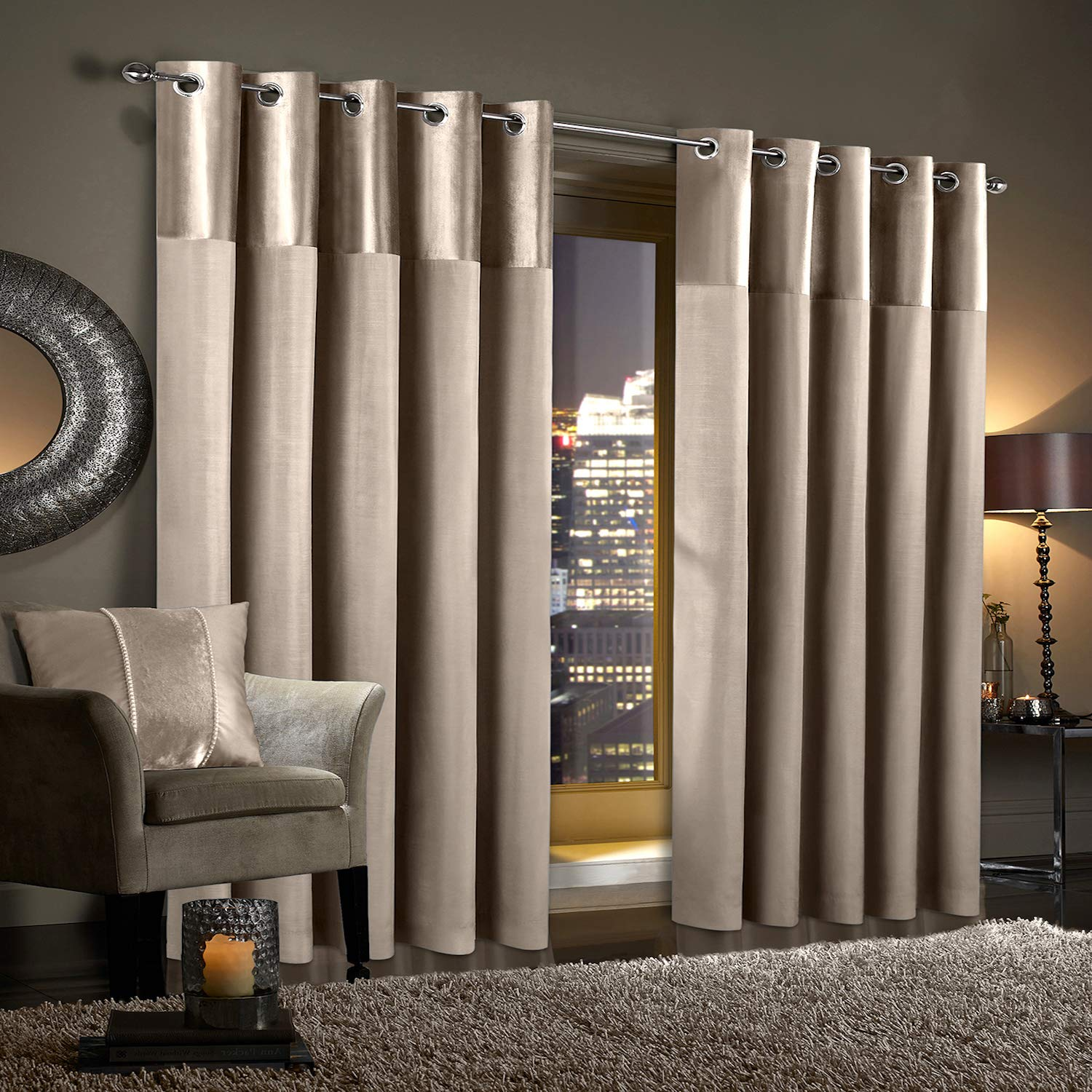 Champagne Natural Crushed Velvet Pair of Fully Lined Ring Top Eyelet Curtains