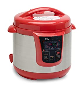 Elite Platinum 8 Quart 14-in-1 Multi-Use Programmable Pressure Cooker, Slow Cooker, Rice Cooker, Sauté, and Warmer - Red