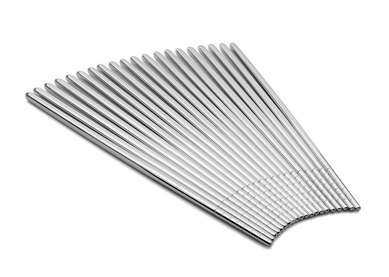 CB Life 10 Pairs Chopsticks, 9 Inch 304 Stainless Steel Non-slip Chopsticks