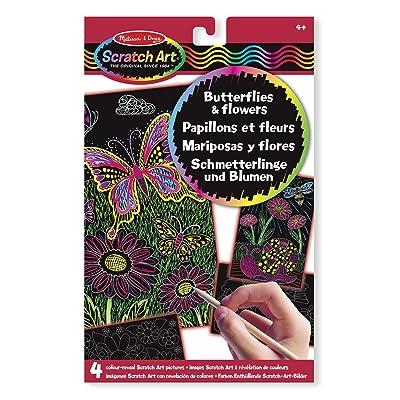 Melissa & Doug 15956 - Imágenes Scratch Art con revelación de Colores: Mariposas y Flores: Juguetes y juegos
