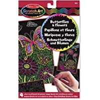 Melissa & Doug Scratch Art Activity Kit: Butterflies and Flowers - 4 Boards, Wooden Stylus