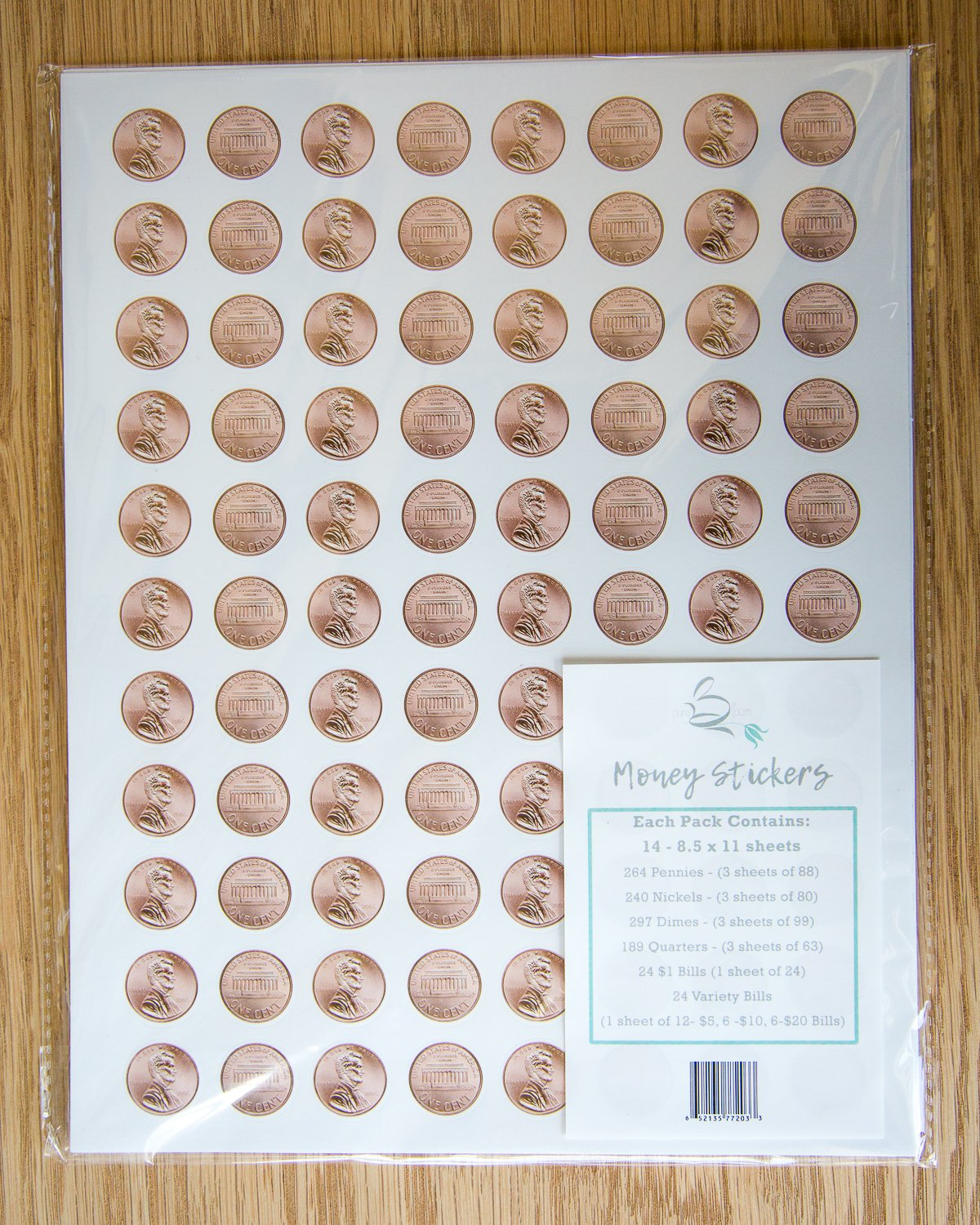 1038 Pieces U.S. Coin & Currency Stickers | For Classroom & Home Use | Extra Strong Adhesive | Realistic Size | 14 Total Sheets | By PureBloom Products by PureBloom Products (Image #2)