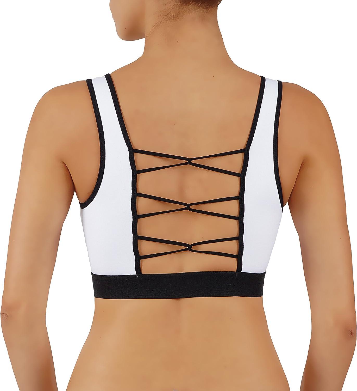 ROUGHRIVER Womens Yoga Top Sports Bra High Impact RunningCrop Top Loop Criss CROS Back!