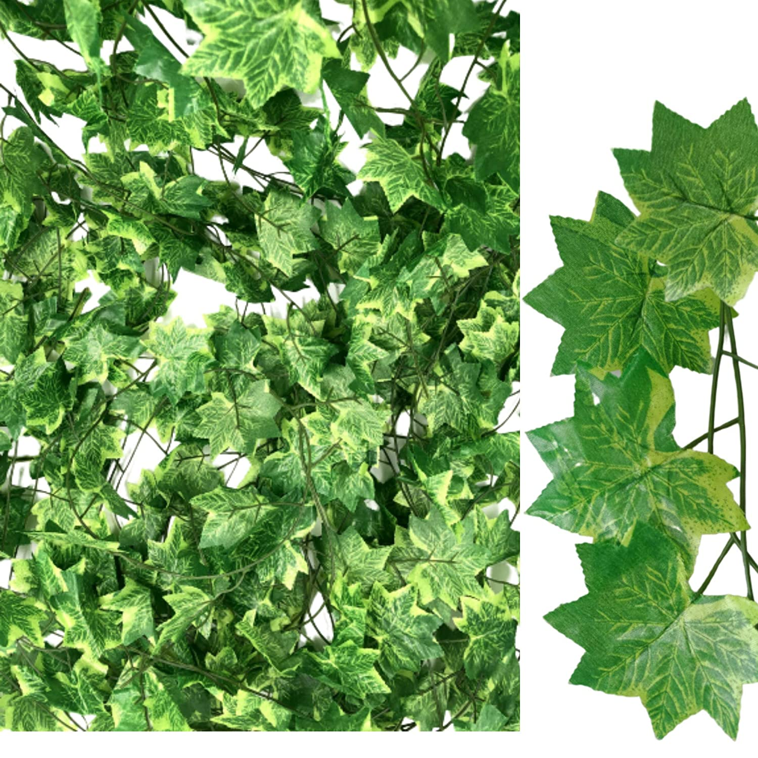 Faux Foliage Vine for Home Patio Wedding Miss Bloom Artificial Ivy Leaf Garlands 12 Pack 84ft Fake Leaves Greenery Backdrop Vines Jungle Party Decorations Silk Wall Hanging Plants Begonia