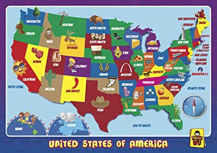 UNCLE WU United State Map Learning Placemats -Educational Kids Placemats